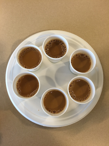 Cups of coffee for tasting.