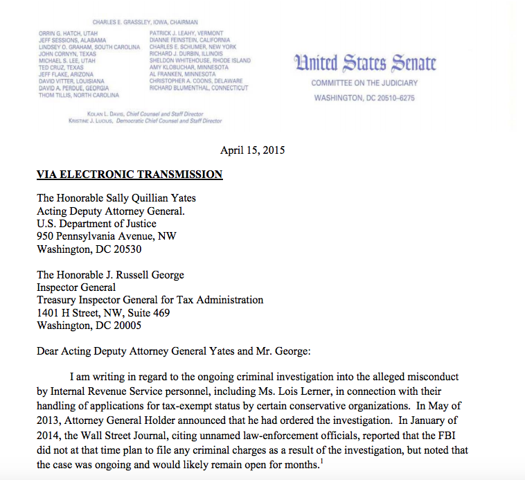 Letter of Senator Charles Grassley to Justice Department and the Treasury Inspector General for Tax Administration