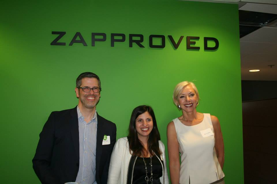 At the Zapproved Open House: Chris Bright, VP of Marketing, Zapproved; Monica Enand, CEO/Founder, Zapproved and First Lady of Portland, Nancy Hales