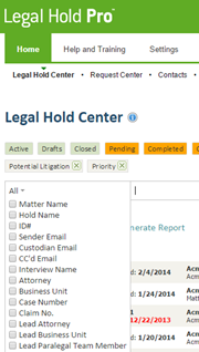 Legal Hold Pro Contact Attributes Dropdown Menur