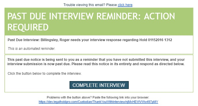 Legal Hold Pro Interview Auto Reminder