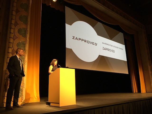 Monica Enand of Zapproved Accepting the Rising Star Oregon Tech Award