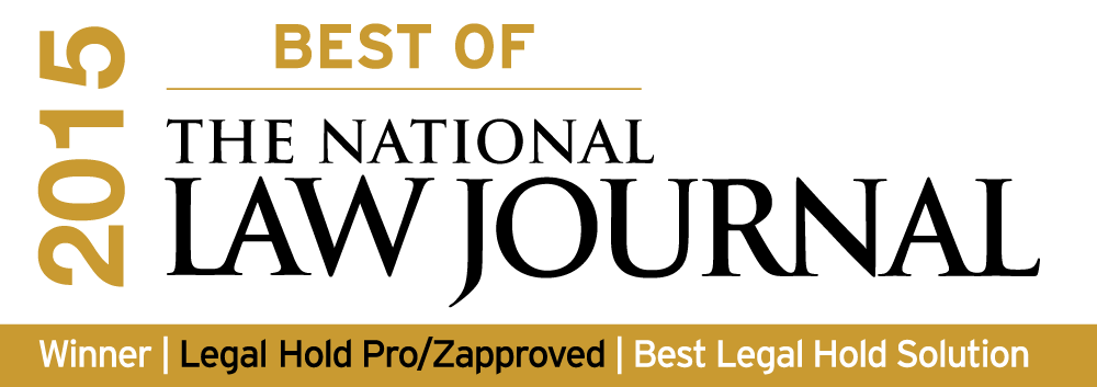 Legal Hold Pro Voted 'Best of The National Law Journal 2015′