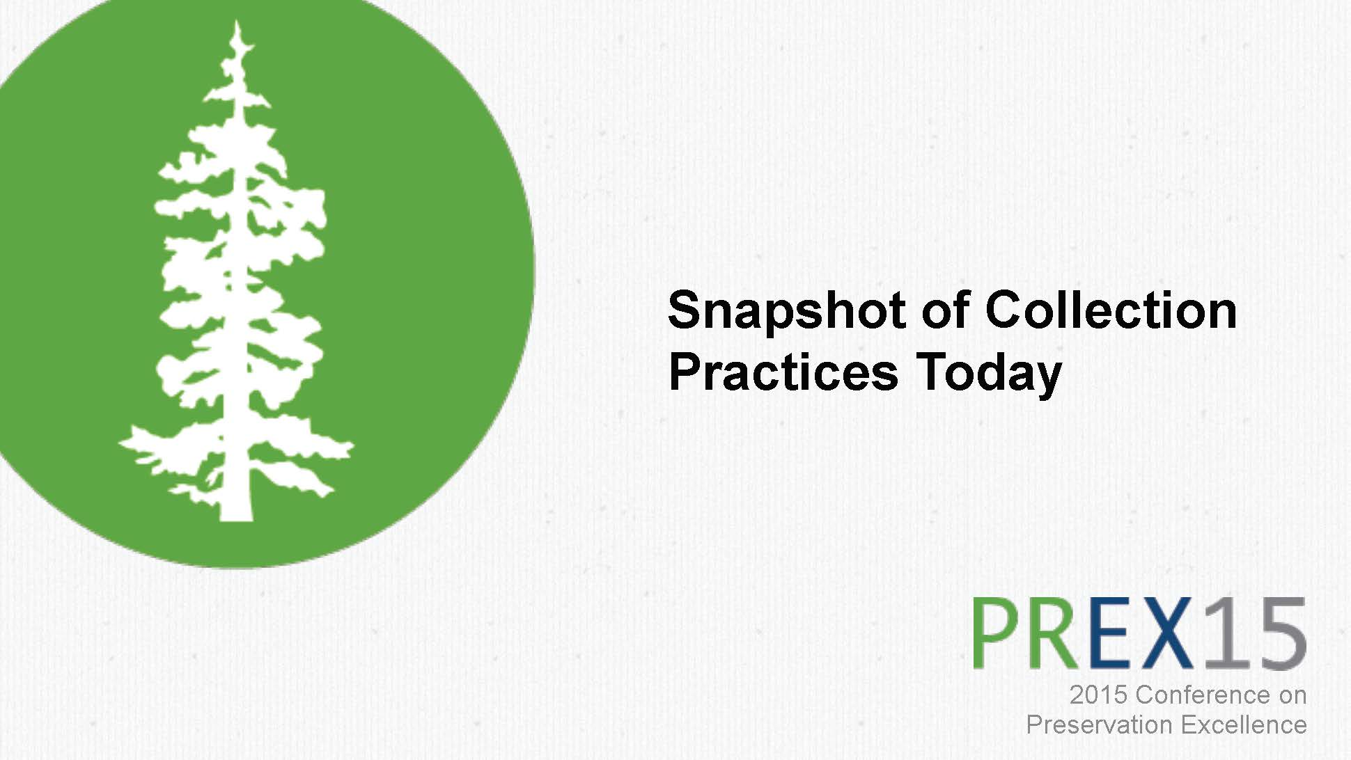 Snapshot of Collection Practices Today