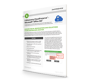 Data Sheet Z-Discovery CloudPreserve™ - Microsoft® Office 365™