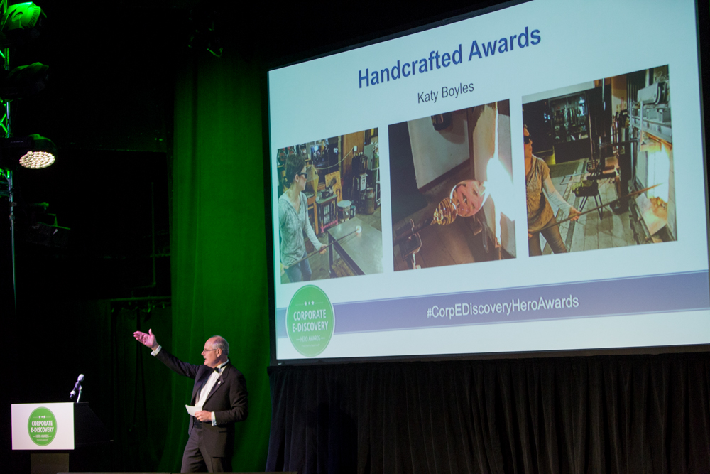 2017 Corporate E-Discovery Hero Awards were handcrafted by Katy Boyles.