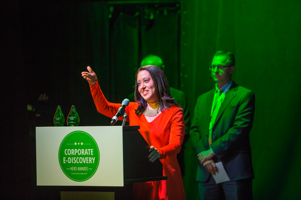 Farrah Pepper of GE accepts 2017 Corporate E-Discovery Hero Award for Teams