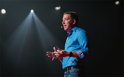 Image of Glenn Greenwald, Pulitzer-Prize winning journalist, who will be featured keynote speaker at PREX17 in Portland, Oregon.