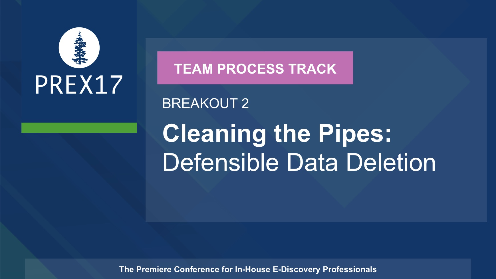 (Breakout 2 - Team Process) Cleaning the Pipes: Defensible Data Deletion