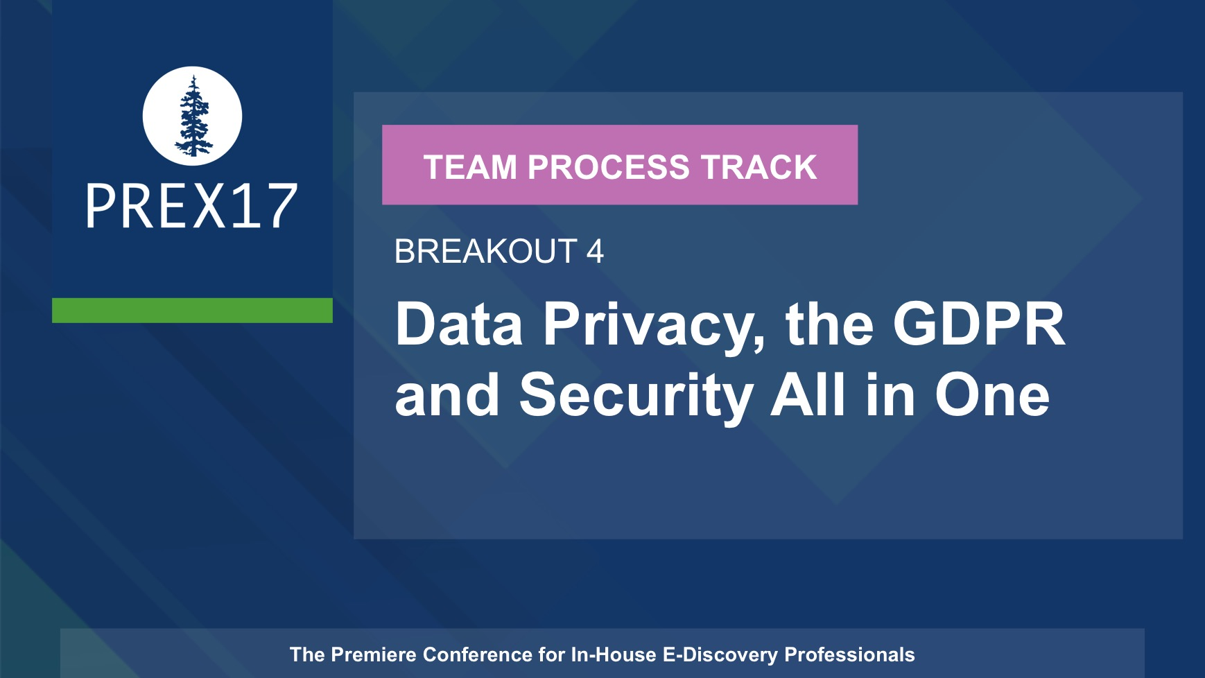 (Breakout 4 - Team Process) Data Privacy, the GDPR and Security All in One