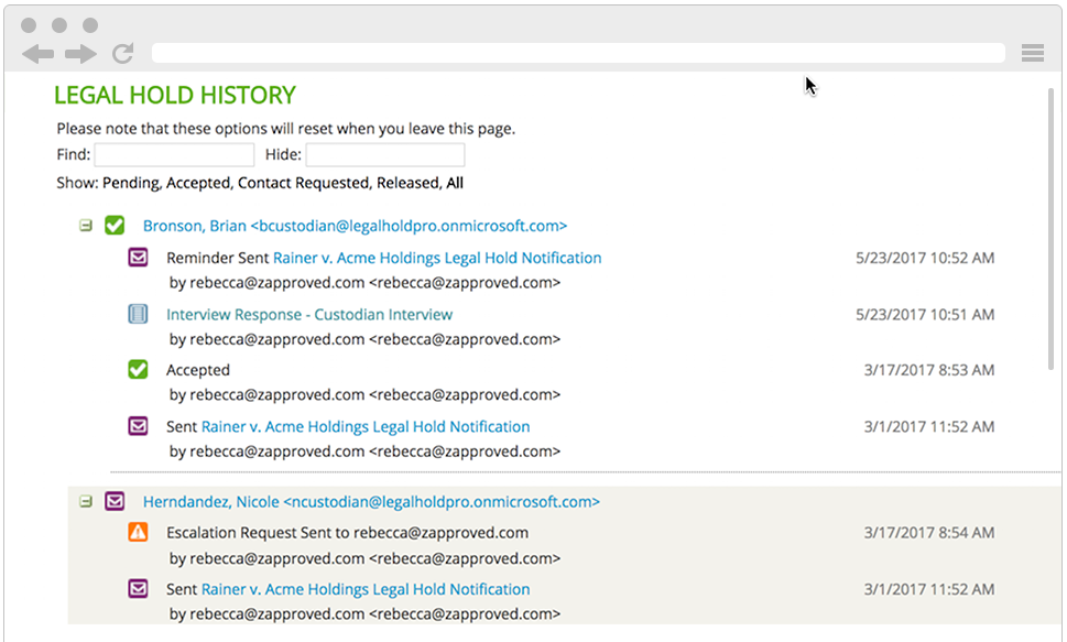 Legal Hold History Screenshot Legal Hold Pro