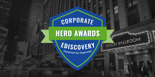 Corporate Ediscovery Hero Awards Logo in front of the edison ballroom where the ceremony is located