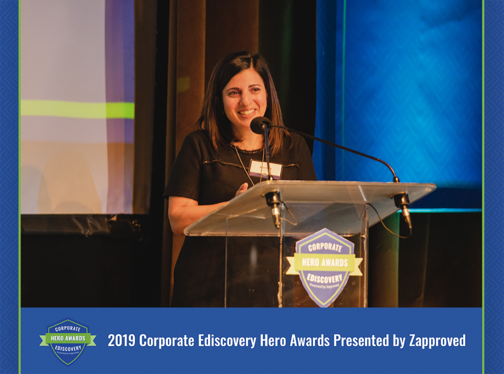 Monica Enand at 2019 Corporate Ediscovery Hero Awards by Zapproved
