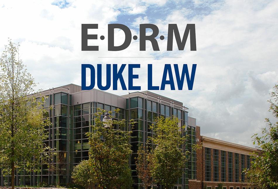 Duke Law School building with the EDRM Duke Law logo overlay
