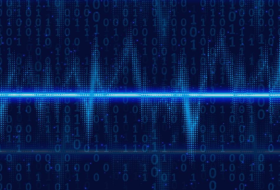 Blue graphics of glowing voice sound waves with binary code overlay