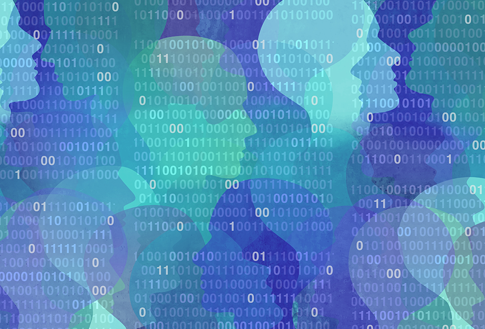 Abstract image of silhouette heads over binary code with blue/green gradients illustrating data privacy, security, and data breach