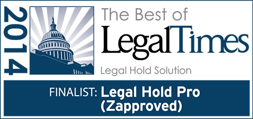 Legal Hold Pro Wins 'Best of Legal Times 2014′