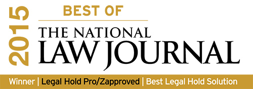 Legal Hold Pro award for 'Best of The National Law Journal 2015′