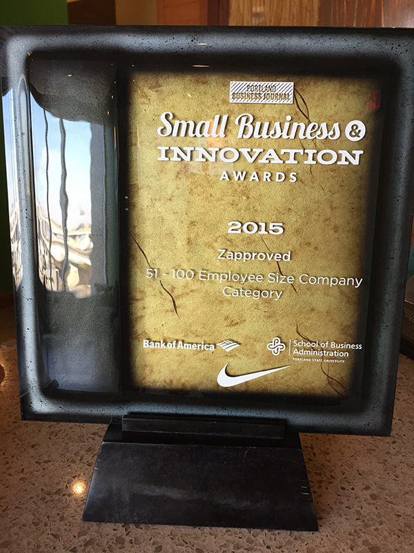 Zapproved's 2015 Small Business Innovation Award