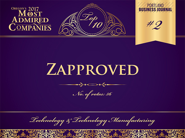 Zapproved is number 2 in the 2017 Oregons Most Admired Companies for Technology and Technology Manufacturing